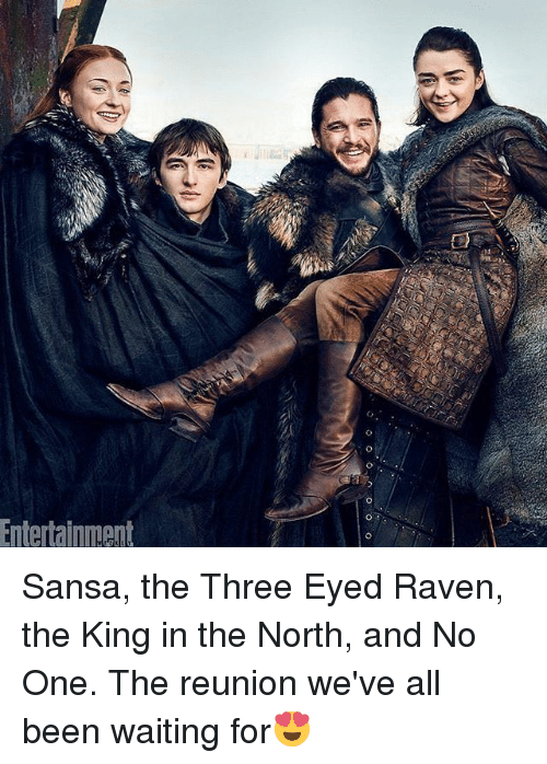 Memes, Raven, and Waiting...: Entertainnment Sansa, the Three Eyed Raven, the King in the North, and No One. The reunion we've all been waiting for😍