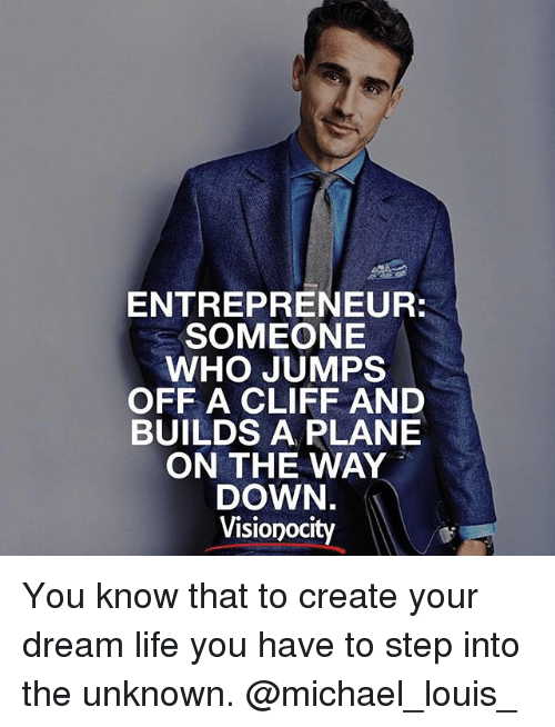 ENTREPRENEUR SOMEONE WHO JUMPS OFF a CLIFF AND BUILDS a PLANE ON THE