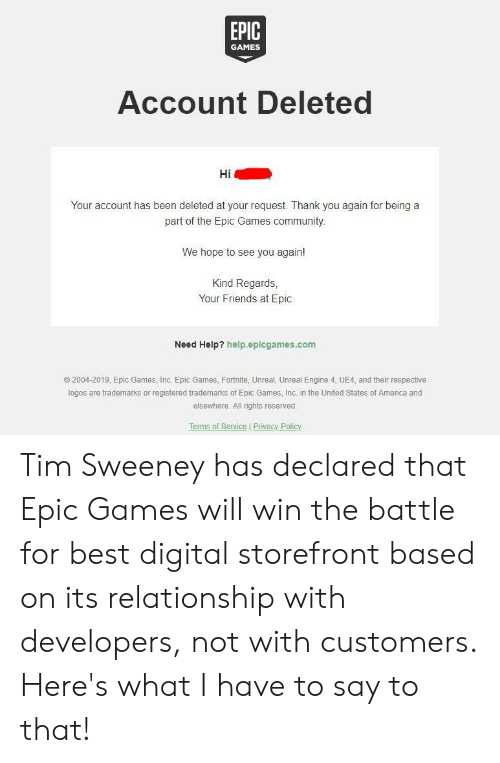 EPIC GAMES Account Deleted Your Account Has Been Deleted at Your