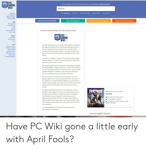 EPIC GAMING WIK EpicGamingWiki Aims to List Fixes and Workarounds
