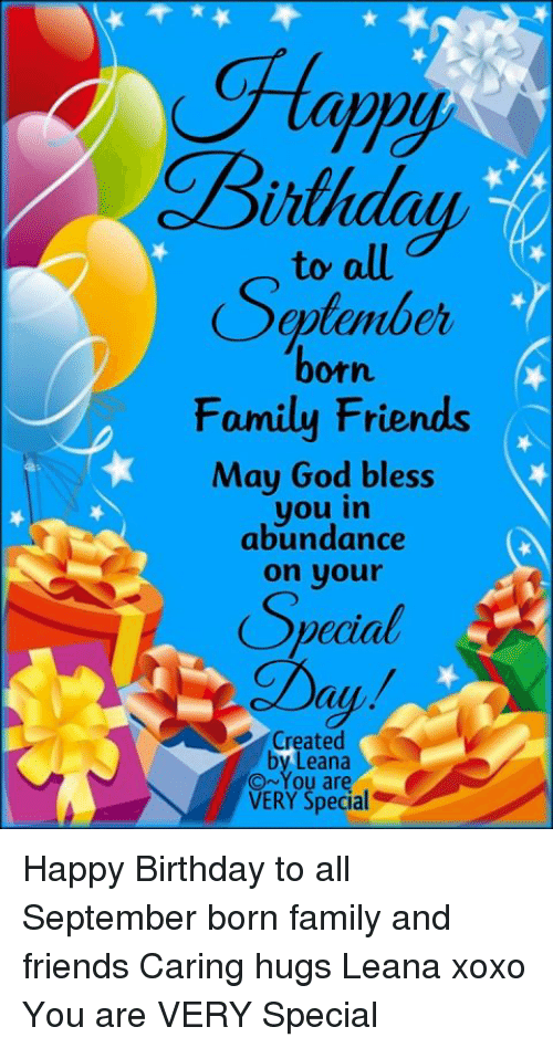 Eptember Orn Family Friends May God Bless You In Abundance On Your 9