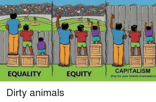 Animals, Reddit, and Dirty: EQUALITY  EQUITY  CAPITALISM  Pay for your tickets freeloaders)