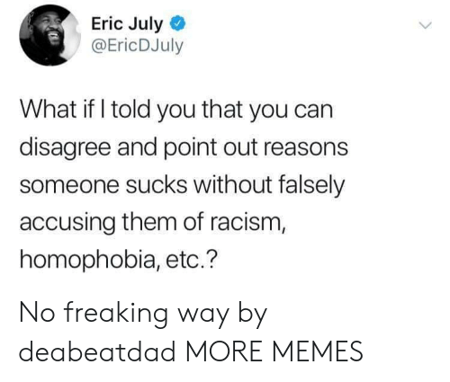 Dank, Memes, and Racism: Eric July  @EricDJuly  What if I told you that you can  disagree and point out reasons  someone sucks without falsely  accusing them of racism,  homophobia, etc.? No freaking way by deabeatdad MORE MEMES