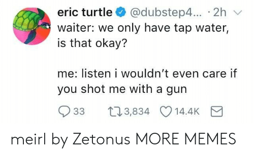Dank, Memes, and Target: eric turtle @dubstep4... 2h v  waiter: we only have tap water,  is that okay?  me: listen i wouldn't even care if  you shot me with a gun  33 t03,834 14.4K meirl by Zetonus MORE MEMES