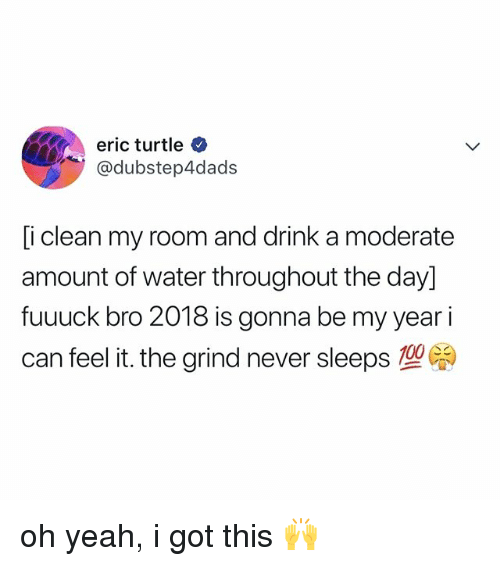 Yeah, Turtle, and Water: eric turtle  @dubstep4dads  [i clean my room and drink a moderate  amount of water throughout the day]  fuuuck bro 2018 is gonna be my year i  can feel it, the grind never sleeps型 oh yeah, i got this 🙌