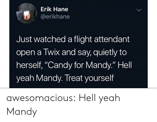 "Candy, Tumblr, and Yeah: Erik Hane  @erikhane  Just watched a flight attendant  open a Twix and say, quietly to  herself, ""Candy for Mandy."" Hell  yeah Mandy. Treat yourself awesomacious:  Hell yeah Mandy"