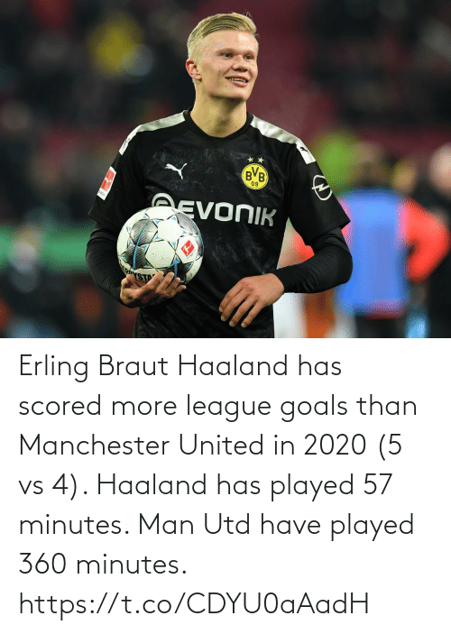 Erling Braut Haaland Has Scored More League Goals Than Manchester United In 2020 5 Vs 4 Haaland Has Played 57 Minutes Man Utd Have Played 360 Minutes Httpstcocdyu0aaadh Goals Meme On Me Me