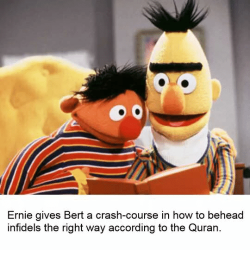 How To, Quran, and According: Ernie gives Bert a crash-course in how to behead  infidels the right way according to the Quran