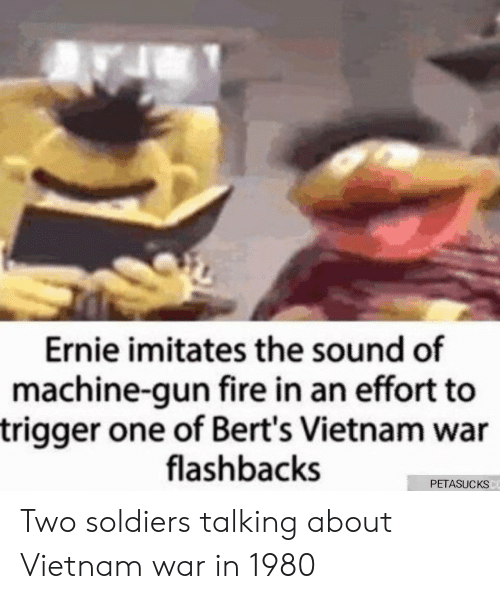 Fire, Soldiers, and Vietnam: Ernie imitates the sound of  machine-gun fire in an effort to  trigger one of Bert's Vietnam war  flashbacks  PETASUCKS Two soldiers talking about Vietnam war in 1980