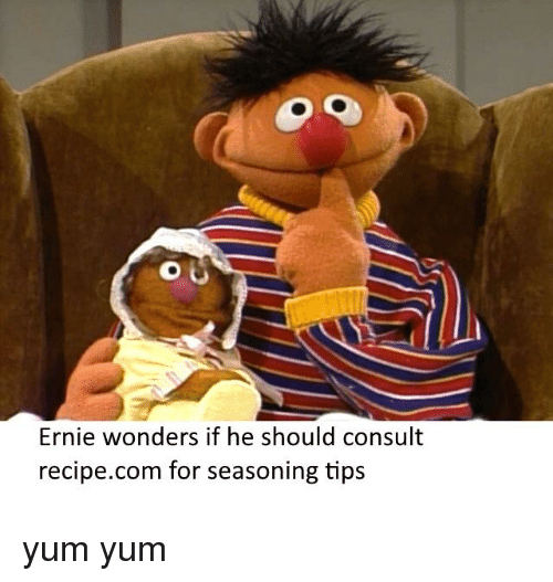 Bertstrips, Com, and Yum: Ernie wonders if he should consult  recipe.com for seasoning tips