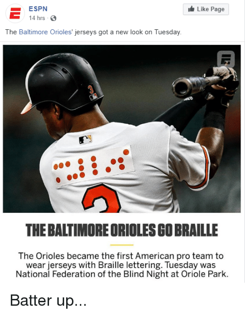 sale retailer a70fa 972ad ESPN 14 Hrs 3 Like Page the Baltimore Orioles' Jerseys Got a ...