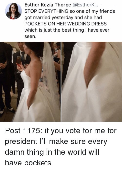 Friends, Memes, and Best: Esther Kezia Thorpe @EstherK...  STOP EVERYTHING so one of my friends  got married yesterday and she had  POCKETS ON HER WEDDING DRESS  which is just the best thing I have ever  seen Post 1175: if you vote for me for president I'll make sure every damn thing in the world will have pockets