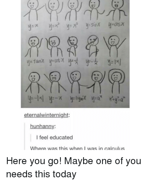 Today, Calculus, and One: eternalwinternight:  hunhanny:  I feel educated  Where was this when I was in calculus Here you go! Maybe one of you needs this today