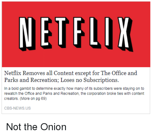 ETFL Netflix Removes All Content Except for the Office and