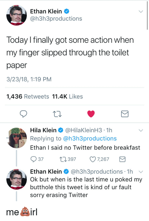 1d6c95d4e34ac Ethan Klein Today I Finally Got Some Action When My Finger Slipped ...