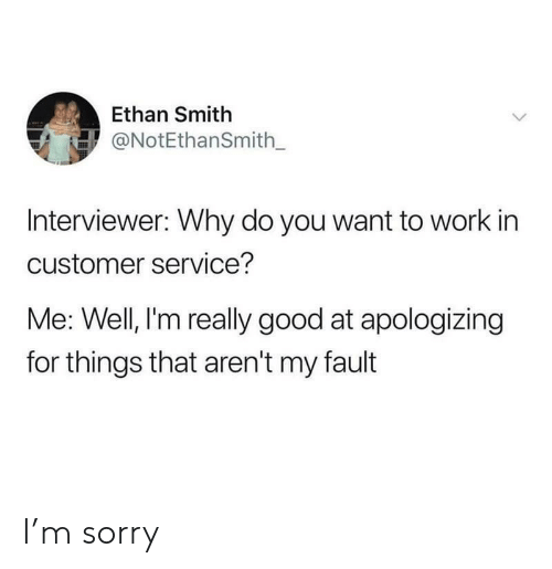 Sorry, Work, and Good: Ethan Smith  ONotEthanSmith_  Interviewer: Why do you want to work in  customer service?  Me: Well, l'm really good at apologizing  for things that aren't my fault I'm sorry