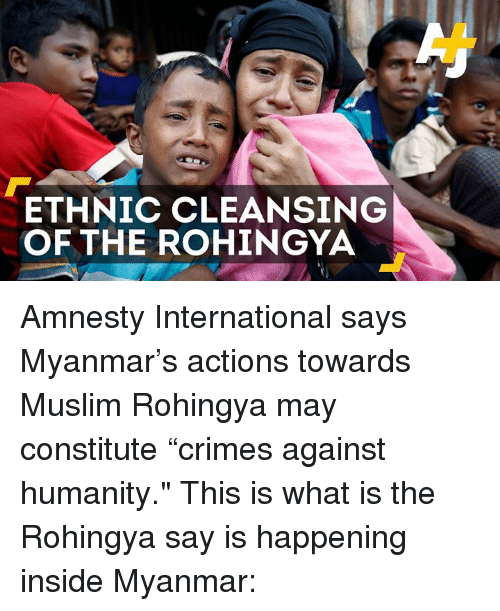 Crime, Memes, and Muslim: ETHNIC CLEANSING OF THE ROHINGYA Amnesty International says Myanmar's