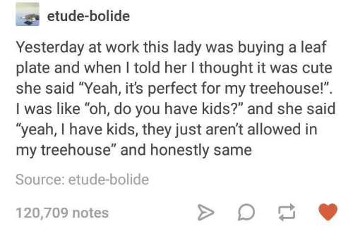 """Cute, Yeah, and Work: etude-bolide  Yesterday at work this lady was buying a leaf  plate and when I told her I thought it was cute  she said """"Yeah, it's perfect for my treehouse!"""".  I was like """"oh, do you have kids?"""" and she said  yeah, I have kids, they just aren't allowed in  my treehouse"""" and honestly same  Source: etude-bolide  120,709 notes"""