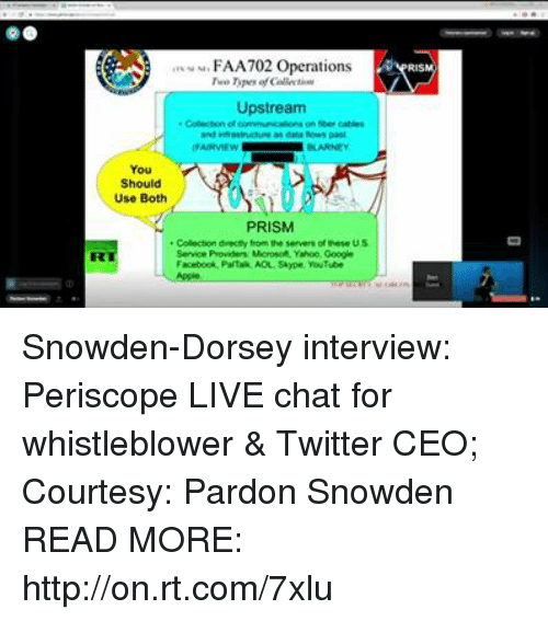 Dank, Periscope, and Yahoo: eu, FA A702 Operations  Upstream  on cables  as datafows past  Should  Use Both  PRISM  Colector drecey from the servers ofhese US  Service Providers Morosoft Yahoo Ooogin Snowden-Dorsey interview: Periscope LIVE chat for whistleblower & Twitter CEO; Courtesy: Pardon Snowden READ MORE: http://on.rt.com/7xlu