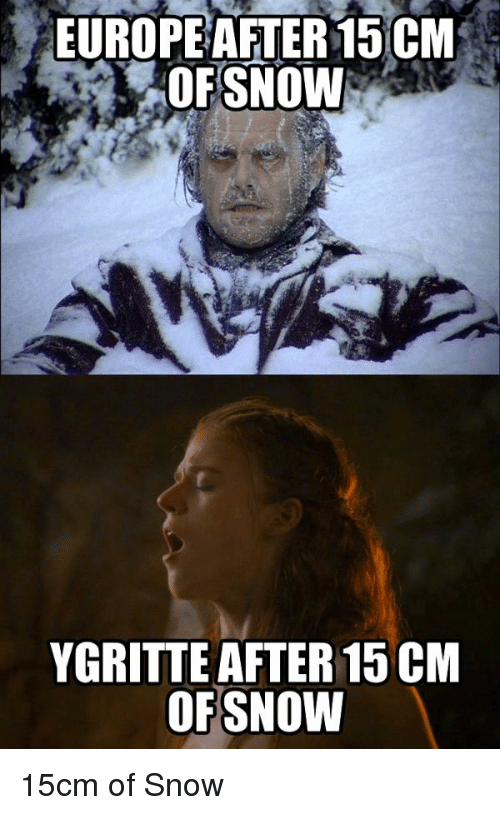 Game of Thrones, Meme, and Europe: EUROPE AFTER15 CM  OFSNOW  YGRITTE AFTER 15CM  OF SNOW 15cm of Snow