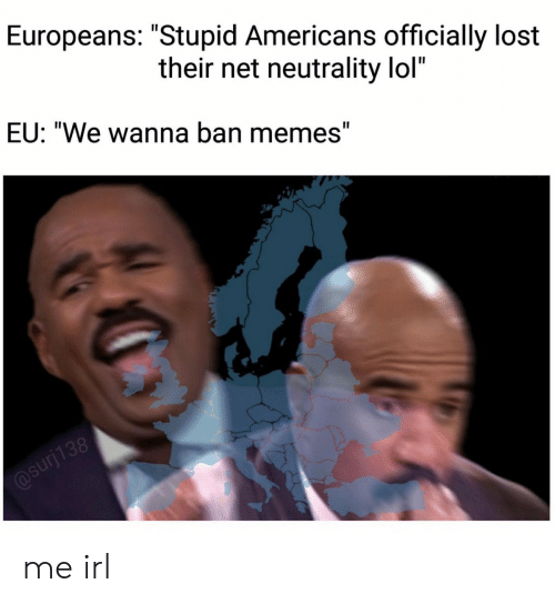 """Lol, Memes, and Lost: Europeans: """"Stupid Americans officially lost  their net neutrality lol""""  EU: """"We wanna ban memes"""" me irl"""