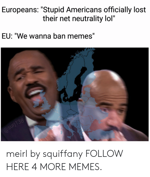 """Dank, Lol, and Memes: Europeans: """"Stupid Americans officially lost  their net neutrality lol'""""  EU: """"We wanna ban memes"""" meirl by squiffany FOLLOW HERE 4 MORE MEMES."""