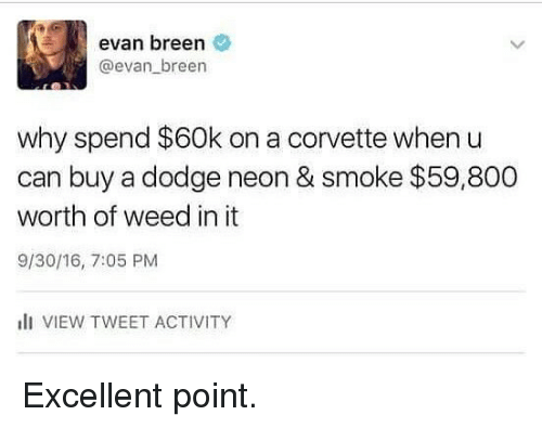 Funny, Weed, and Corvette: evan breen  @evan breen  why spend $60k on a corvette when u  can buy a dodge neon & smoke $59,800  worth of weed in it  9/30/16, 7:05 PM  lI VIEW TWEET ACTIVITY Excellent point.