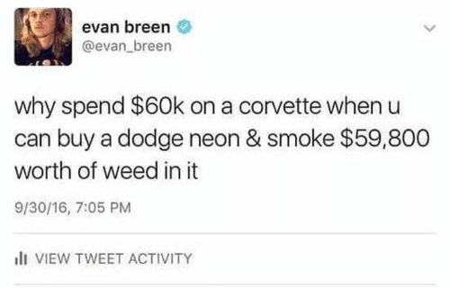 Memes, Weed, and Corvette: evan breen  @evan breen  why spend $60k on a corvette when u  can buy a dodge neon & smoke $59,800  worth of weed in it  9/30/16, 7:05 PM  I VIEW TWEET ACTIVITY