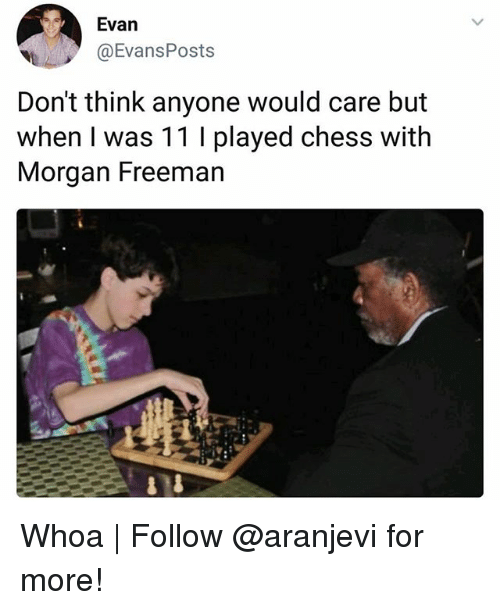 Memes, Morgan Freeman, and Chess: Evan  @EvansPosts  Don't think anyone would care but  when I was 11 played chess with  Morgan Freeman Whoa | Follow @aranjevi for more!