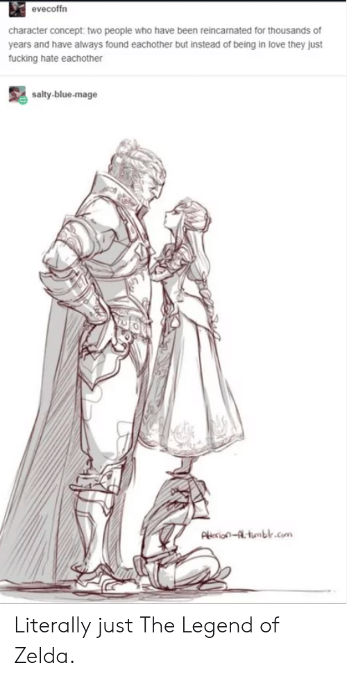 Love, Being Salty, and Tumblr: evecoffrn  character concept two people who have been reincamated for thousands of  years and have always found eachother but instead of being in love they just  fucking hate eachother  salty-blue-mage  Pie-tumblr.com Literally just The Legend of Zelda.