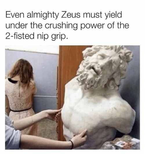 Dank, Power, and Zeus: Even almighty Zeus must yielc  under the crushing power of the  2-fisted nip grip