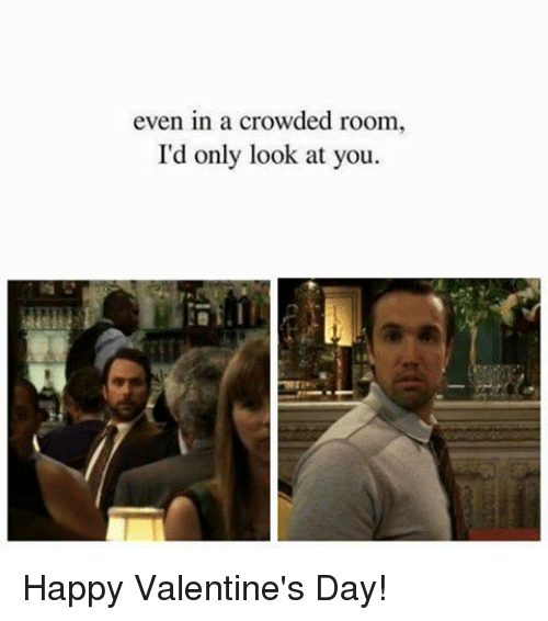 Memes, Valentine's Day, and Happy: even in a crowded room,  I'd only look at you. Happy Valentine's Day!