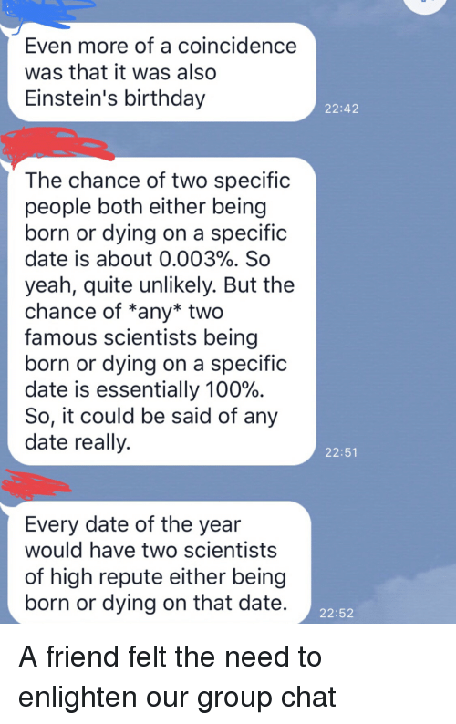 Chance of dating someone with the same birthday