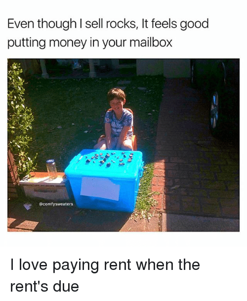 Love, Memes, and Money: Even though I sell rocks, It feels good  putting money in your mailbox  @comfysweaters I love paying rent when the rent's due
