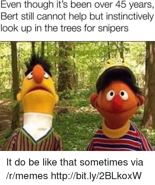 Be Like, Memes, and Help: Even though it's been over 45 years,  Bert still cannot help but instinctively  look up in the trees for snipers It do be like that sometimes via /r/memes http://bit.ly/2BLkoxW