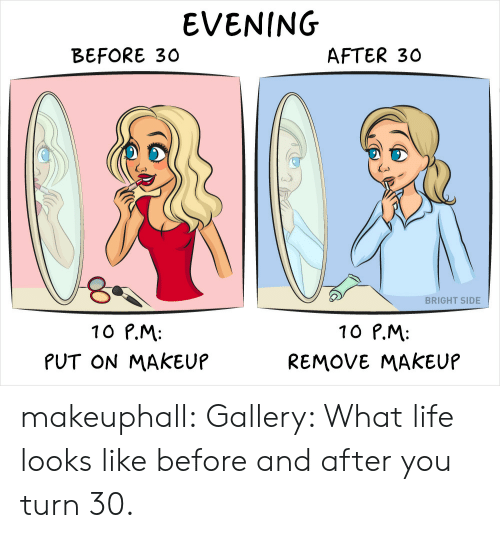 Life, Makeup, and Tumblr: EVENING  BEFORE 30  AFTER 30  Co  BRIGHT SIDE  10 P.M  PUT ON MAKEUP  10 P.M:  REMOVE MAKEUP makeuphall: Gallery: What life looks like before and after you turn 30.