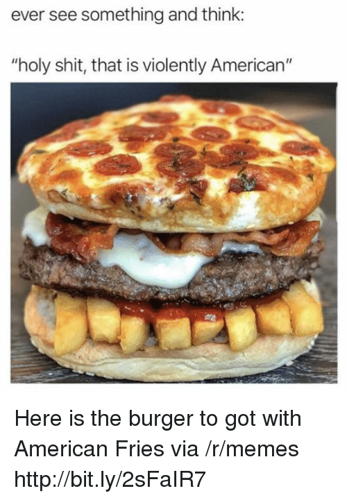 """Memes, Shit, and American: ever see something and think:  """"holy shit, that is violently American"""" Here is the burger to got with American Fries via /r/memes http://bit.ly/2sFaIR7"""