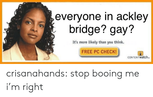 Target, Tumblr, and Blog: evervone in acklev  bridge? gay?  It's more likely than you think.  FREE PC CHECK!  CONTENTWatch. crisanahands:  stop booing me i'm right