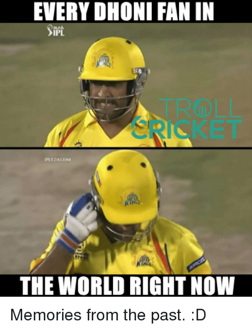 Memes, World, and 🤖: EVERY DHONI FAN IN  THE WORLD RIGHT NOW Memories from the past. :D  <aVAn>