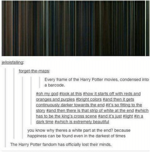 Every Frame of the Harry Potter Movies Condensed Into a Barcode Dark ...