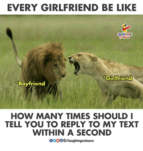 Be Like, How Many Times, and Text: EVERY GIRLFRIEND BE LIKE  LAUGHING  Girlfriend  Boyfriend  HOW MANY TIMES SHOULD  TELL YOU TO REPLY TO MY TEXT  WITHIN A SECOND  000918/laughingcolours