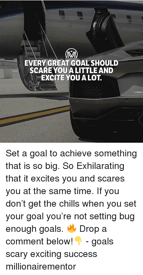 Goals, Memes, and Excite: EVERY GREAT GOAL SHOULD  SCAREYOU A LITTLE AND  EXCITE YOU A LOT. Set a goal to achieve something that is so big. So Exhilarating that it excites you and scares you at the same time. If you don't get the chills when you set your goal you're not setting bug enough goals. 🔥 Drop a comment below!👇 - goals scary exciting success millionairementor