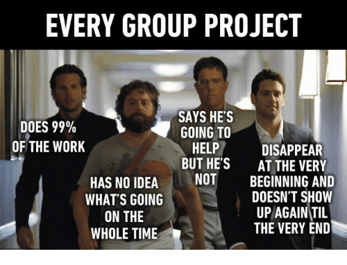Memes And Project EVERY GROUP PROJECT SAYS HES DOES 99 GOING
