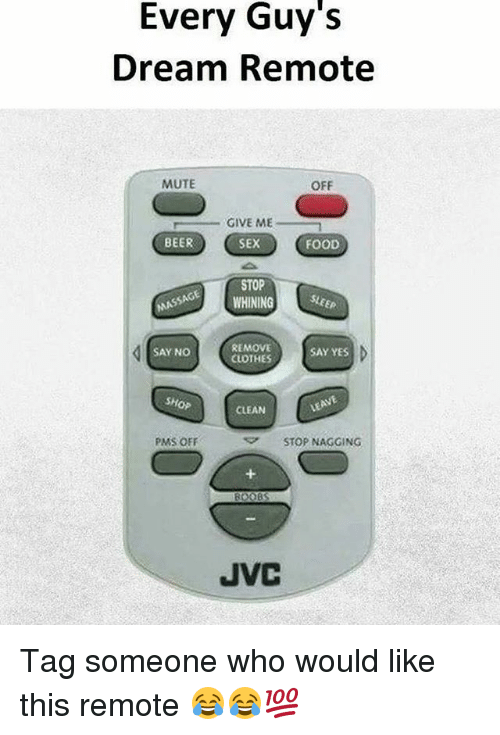 Beer, Clothes, and Food: Every Guy's  Dream Remote  MUTE  OFF  GIVE ME  BEER  SEX(FOOD  STOP  WHINING E  REMOVE  CLOTHES  SAY NO  SAY YES  SHOP  CLEAN  PMS OFF  ▽ STOP NAGGING  JVC Tag someone who would like this remote 😂😂💯