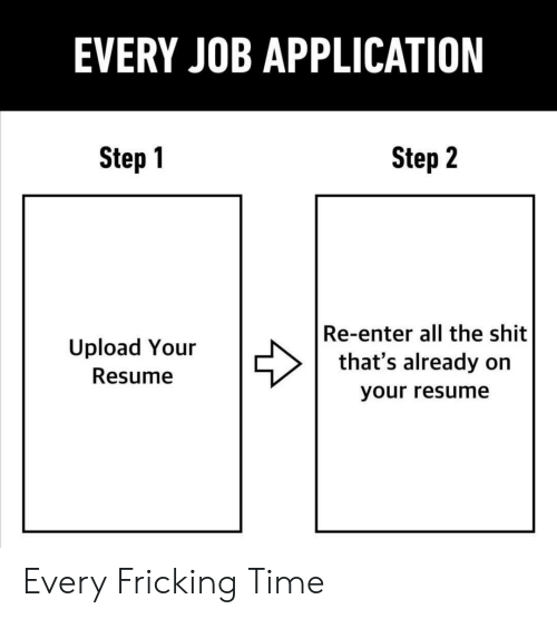 EVERY JOB APPLICATION Step 1 Step 2 Re-Enter All the Shit