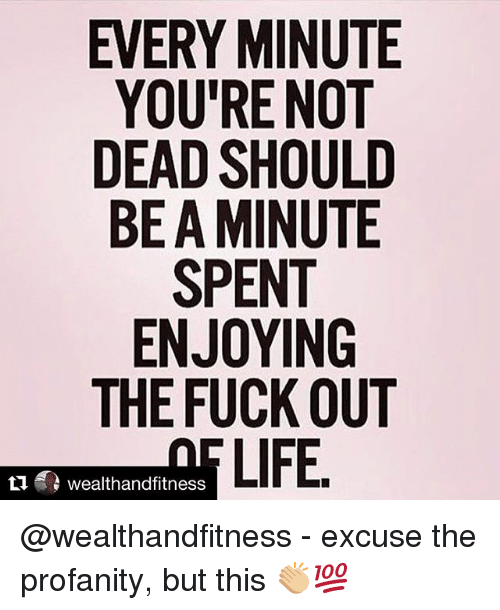 Gym, Life, and Fuck: EVERY MINUTE  YOU'RE NOT  DEAD SHOULD  BE A MINUTE  SPENT  ENJOYING  THE FUCK OUT  LIFE  乜鼎wealthandfitness @wealthandfitness - excuse the profanity, but this 👏🏼💯