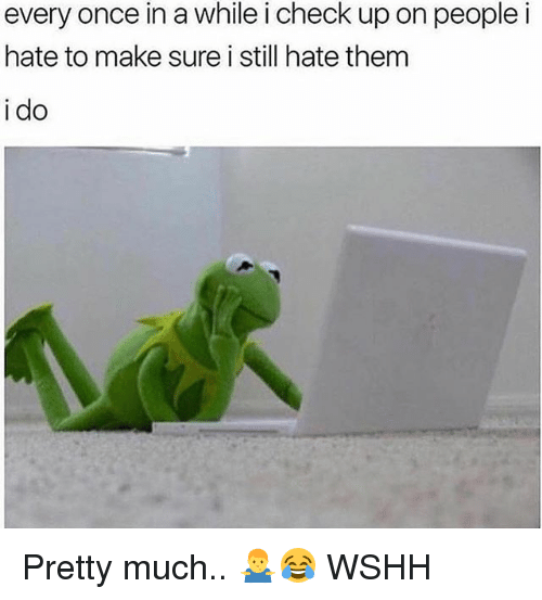 Memes, Wshh, and 🤖: every once in a while i check up on peoplei  hate to make sure i still hate them  i do Pretty much.. 🤷‍♂️😂 WSHH
