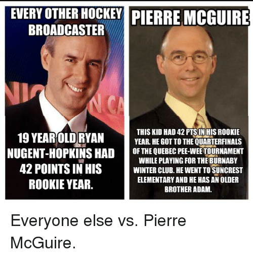 Club, Hockey, and Wee: EVERY OTHER HOCKEY PIERRE MCGUIRE  BROADCASTER  19 YEAR OLD RYAN  THIS KID HAD 42 PTSIN HIS ROOKIE  YEAR HEGOT TO THEQUARTERFINALS  NUGENT-HOPKINS HAD  OF THE QUEBEC PEE-WEE TOURNAMENT  WHILE PLAYING FOR THE BURNABY  42 POINTS IN HIS  WINTER CLUB. HEWENTTO SUNCREST  ELEMENTARY AND HE HASAN OLDER  ROOKIE YEAR.  BROTHER ADAM. Everyone else vs. Pierre McGuire.