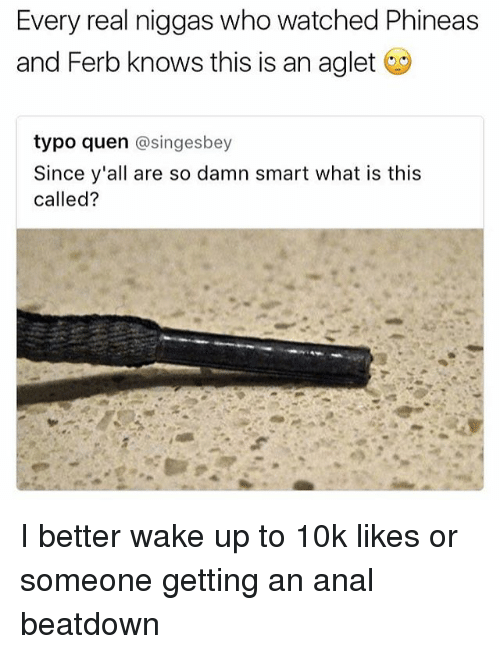 Memes, Phineas and Ferb, and Anal: Every real niggas who watched Phineas  and Ferb knows this is an aglet  typo quen  asingesbey  Since y'all are so damn smart what is this  called? I better wake up to 10k likes or someone getting an anal beatdown