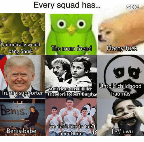 Horny, Sex, and Shrek: Every squad has...  SEX!  SEX  UnironicallI WOuld  Horny fuck  The mom friend  bang Shrek  AmcricanscriarlrUntold childhood  Trummp supporter Theodor RobertBundy  traumas  nis  don't like  we  to talk  Benis.babe  about him